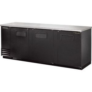 "True TBB-4 90"" 3 Door Black Vinyl Back Bar Cooler"