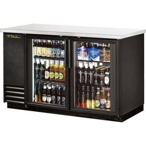 "True TBB-2G-LD 59"" 2 Glass Door Black Vinyl Back Bar Cooler"