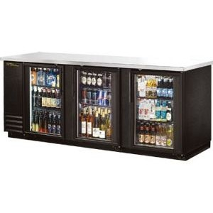 "True TBB-4G-LD 90"" 3 Door Glass Black Vinyl Back Bar Cooler"