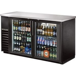 "True TBB-24-60G-LD 61"" 2 Glass Door Black Vinyl Back Bar Cooler"