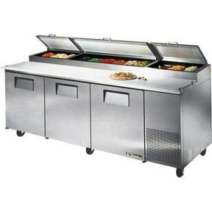 "True TPP-93 93"" 3 Door Refrigerated Pizza Prep Table"