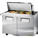 "True TSSU-48-18M-B 48"" 2 Door Refrigerated Mega Top Sandwich Prep Table"