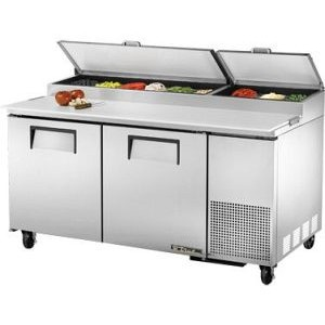 "True TPP-67 67"" 2 Door Refrigerated Pizza Prep Table"