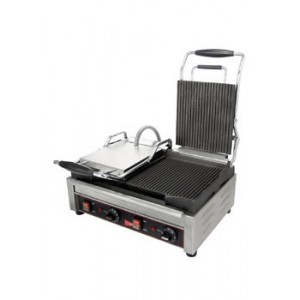"Cecilware / Grindmaster SG2LG 22-3/4"" Dual Smooth Cast Iron Sandwich Grill"