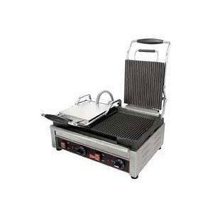 "Cecilware / Grindmaster SG2LF 22-3/4"" Dual Smooth Cast Iron Sandwich Grill"