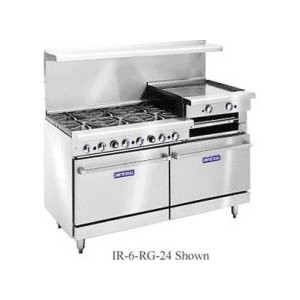 IMPERIAL 6 BURNER RANGE W/ RAISED BROILER AND 2 STANDARD OVENS