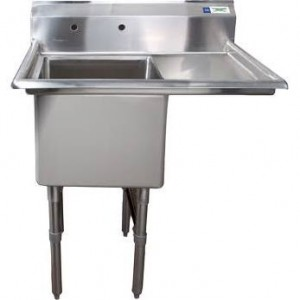 BK RESOURCES 1 COMPARTMENT SINK WITH RIGHT DRAINBOARDS MODEL BKS-1-1620-12-18R